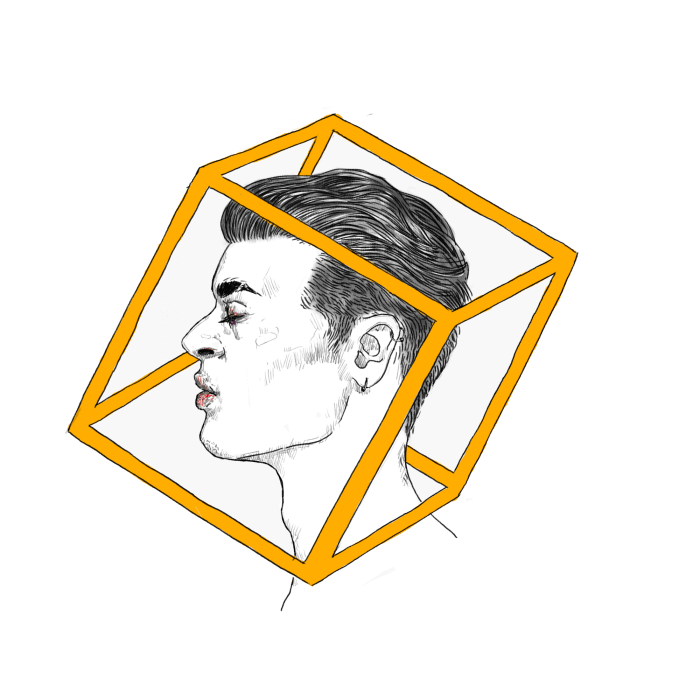 Drawing of a man surrounded by a yellow box.