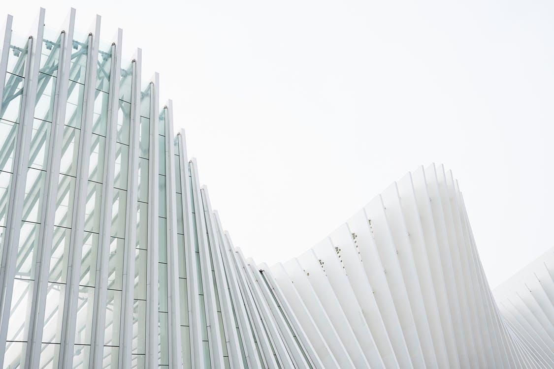 A glass building with a skyline.