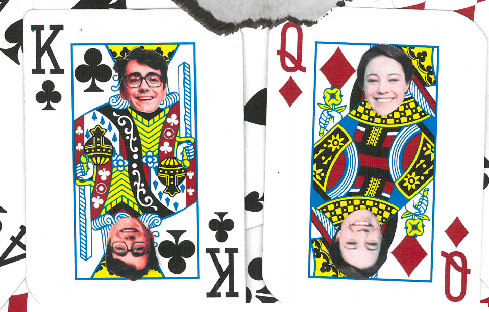 Cameron Allan and Eleanor Kay's heads photoshopped on playing cards, with the title 'who will be crowned'