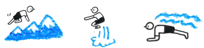 illustration of three figures; one running up a mountain, one doing squats and another doing push-ups